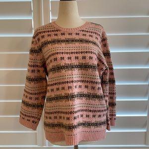 Lauren Ralph Lauren fair isle nordic sweater pink wool sz L